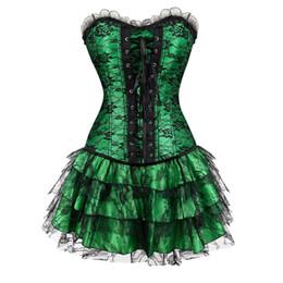 Robes de soirée de style corset en Ligne-Sapubonva Corset Et Bustier Dentelle Soirée Femmes Casual Robe Plus Size Push Up Gothique Corset Robe Zip Noir Rouge Vintage Vert