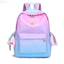 Kinder kopfhörer online-Süße Bänder Rucksack weiblich einfache schöne Kopfhörer Stecker Rucksack für Kinder große Kapazität Nylon Schultasche für Mädchen