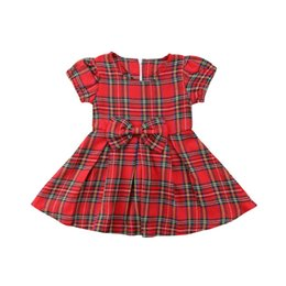 Красное рождественское платье для девочки онлайн-Christmas Newborn Toddler Baby Girl Princess Party Dress Red Plaid Tutu Dresses Belt Bowknot Clothes Summer Casual Clothing