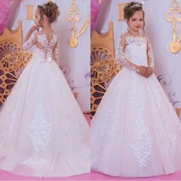 915c6bbf6 2019 País de manga larga de encaje Vestidos de niña de flores Fiesta de la  princesa Prom Bodas de cumpleaños Vestidos de damas de honor para niños  pequeños