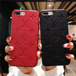 Casos de patrones online-Venta caliente en 2019 Funda de cuero de lujo para iPhone XS MAX XR 8plus marca de impresión patrón de doodle caja del teléfono cubierta dura para iPhone7 6 6S 7plus