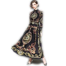 Marque Automne Robe Femmes De Mode Élégant À Manches Longues Stand Col Collier Imprimer Casual Bureau Maxi Long Chemise Robes Taille M-2XL ? partir de fabricateur