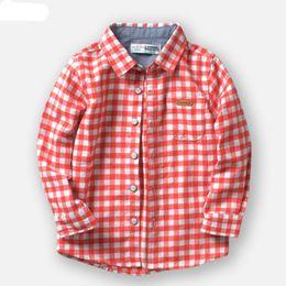Tela de franela a cuadros online-Nuevos camisas para niños de marca Casual Algodón a cuadros 100% tela de franela Camisas de niños para 2-10 años Ropa para niños
