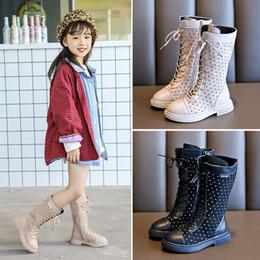 Botas cruzadas online-princesa minoristas botas muchacha de los niños en inglés altas atadas-cruz de la manera zapatos de los niños niñas superior, además de terciopelo botas casuales botas para la nieve de invierno