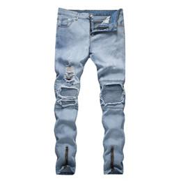 2019 pantalón de estilo urbano Nuevos hombres Hole Fashion Style Cool Jeans High Street Denin Pantalones casuales rotos Pantalones de viento urbanos rectos pantalón de estilo urbano baratos