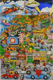 Hd pinturas florales online-Charles Fazzino - Looneywood Decoración pintado a mano de la impresión de HD pinturas al óleo sobre lienzo Arte de pared Cuadros 191206