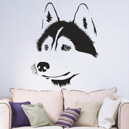 Autocollants muraux couloir en Ligne-Husky sibérien Chien Salon Fenêtre Chambre Decal Hall d'entrée Portrait Accueil Decal amovible vinyle Wall Art Decal