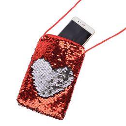 Monedero para el brazo online-Mezcle 6 colores para niños monederos Moda sirena lentejuela bolso del teléfono móvil cuello colgante deportes bolsa diseñador moneda bolsa monedero de la cartera de lujo