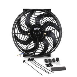 2019 ventilador de enfriamiento 12 CF002A-BK 12 pulgadas 80W 12V Universal Car Slim Reversible Radiador eléctrico Ventilador de refrigeración Push Pull con kit de montaje rebajas ventilador de enfriamiento 12