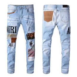 american style jeans for men Promo Codes - New Balmain Mens Distressed Ripped Biker Jeans Slim Fit Motorcycle Biker Denim For Men Fashion Designer Hip Hop Mens Jeans