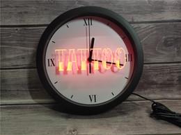 2019 luci del tatuaggio al neon 0B550 Tattoo Shop Bar Pub Art Piercing APP RGB Segnali 5050 luce al neon LED Orologio da parete luci del tatuaggio al neon economici