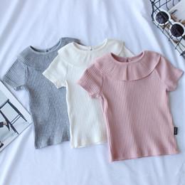 2019 kinder kräuselten t-shirts Sommer Gestricktes Baby Mädchen T-shirt Rosa Grau Weiß Kinder Prinzessin Tees Kinder Rüschen Bluse Shirt Garcon Kleidung Q190523 rabatt kinder kräuselten t-shirts