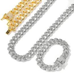 pulseiras de ouro 24k china Desconto Bling Diamante Mens cubana Fazer a ligação Chian Colar Pulseira Set Hip Hop Rapper Miami Correntes Curb Masculina Bijoux Pulseira Jóias Presentes para Guys