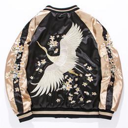 Bestickte satinjacken online-Yokosuka Crane Embroidered Flying Jacket Damen und Herren Short Satin Jacket Baseballanzug Spring Lovers 'Style Plus Size Fit 4XL