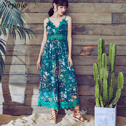 50cfcc19800 Neploe Bohemian Lace Patchwork Flower Pint Bodysuit Vacation Style Casual Open  Back Jumpsuits 2019 Summer Fashion Rompers 69855