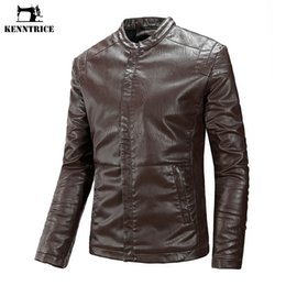 ac5e7d3a561 KENNTRICE Fluff Liner Mens Faux Leather Jacket Slim Men Coat Classic  Motocycle Spring Male Jackets Mens Brown Leather Jacket