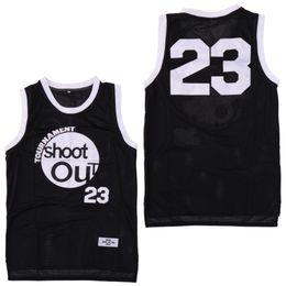 Турнир Moive Shoot Out 23 Мотав Вуд Джерси Мужчины 96 Берди Тупак Черные баскетбольные майки над ободком Костюм Двойные спортивные рубашки от