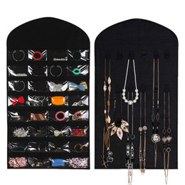 jewelry hanging storage organizer bag Coupons - 32 Pockets 18 Hook Fabric Hanging Jewelry Organizer Holder Storage Bag Earrings Jewelry Display Pouch Makeup Organizer