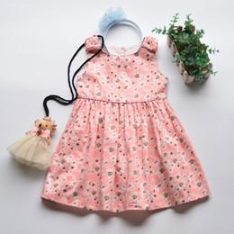 Gilet de bébé coréen en Ligne-Korean Girl Dress Vintage Floral Vêtements enfants Princesse Coton Gilet Dress Baby 2019 Printemps Belle robe rose