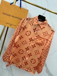 Vestidos de seda estampados online-Paris fashion show debut show para mujer vestido de moda diseñador blusas sección de seda importada cómodo logotipo suave hermosas camisas de impresión