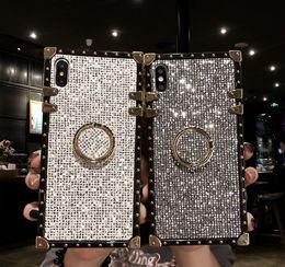 2019 parties de mûre Cas de téléphone portable de luxe TPU doux silicone anti-goutte transparente rapide cas de forage de sable appel flash lanière pour iphone XS Max X 7 8