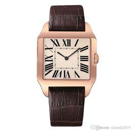 2019 relógios de luxo rosa homem 2019 Rose Gold Novos homens relógio Gentalmen luxo relógios mulheres moda relógio de pulso de couro marrom quadrado dial Feminino Relogio Montre relógio masculino desconto relógios de luxo rosa homem