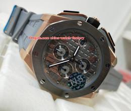 Ouro rosa offshore on-line-Luxo de Alta Qualidade N8 Versão 44mm Offshore 26210 26210OI.OO.A109CR.01 18 k Rose Gold VK Quartz Trabalho Chronograph Mens Watch Relógios