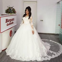 Prinzessin islamische hochzeitskleider online-Prinzessin Muslim Islamic Ballkleid Brautkleider 2019 Vintage Lace Long Sleeves Illusion Zurück Günstige Puffy Rock