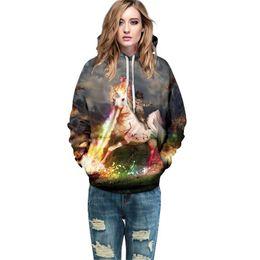 Stampa galassia alta online-2017 Felpa con cappuccio da donna Galaxy Space stampa di alta qualità Plus Size abbigliamento donna colorato con cappuccio sciolto hip hop pullover felpe