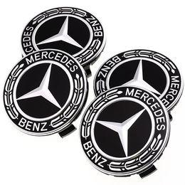 emblème audi en fibre de carbone Promotion 75MM voiture styling 4pcs / pneu roue enjoliveurs cercle couverture enjoliveurs pour accessoires auto benz benz