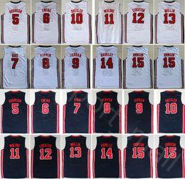1990588865c 1992 US Dream Team One Jerseys Basketball 13 Chris Mullin 15 Johnson 5  David Robinson Karl Malone Christian Laettner Barkley Bird American
