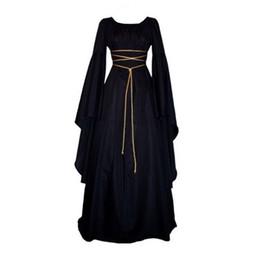 trajes victorianos vintage de las mujeres Rebajas Mujeres Medieval Vintage Victoriano Renacimiento Traje gótico Vestido largo Vestido de manga larga palabra de longitud H7
