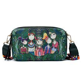 Cartera de dibujos animados online-Buena calidad Bolso de las mujeres Diseño de la marca Bolso Bosque verde Serie Bolsa de hombro Bolsos pequeños Dibujos animados Imprimir Messenger Bags Ladies