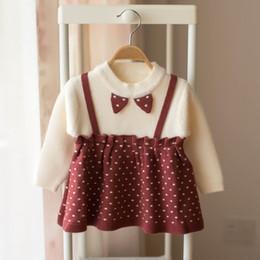 2019 robes de bébé tricotées Nouveau Bébé Filles Pull Tricoté Robe 2019 Automne Hiver Vêtements Infant Toddler Tops Chemises pour Fille Nouveau-Né Kid Coton Costume robes de bébé tricotées pas cher
