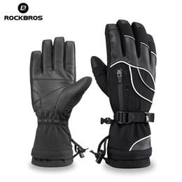 ROCKBROS Тепловые лыжные перчатки Водонепроницаемые теплые перчатки для сноуборда Снегоход Мотоцикл Ветрозащитная одежда для рук Верховая походная перчатка от Поставщики кожаное освещение