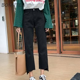 3340ed645d57f Jeans Denim Women Straight High Waist Solid All-match Loose Zipper Trousers  Womens Simple Pockets Korean Style Students Daily  517972