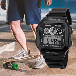 аналоговые цифровые роскошные часы Скидка Morning Running Sport Watch   Men Analog Digital  Army Sport LED Waterproof Wrist Watch Men Outdoor Fashion 2019*