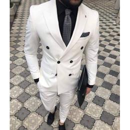 Ivoire à double boutonnage costumes pour homme 2019 en smoking à revers en smoking deux pièces veste pantalon coupe slim sur mesure ? partir de fabricateur