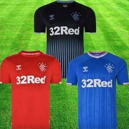 blaues rotes t-shirt Rabatt 2019 New Rangers FC Heimtrikots Blau 2019 2020 Trikots Glasgow Rangers Ausrüstung Fußballtrikot Uniform Tops T-Shirt Maillot