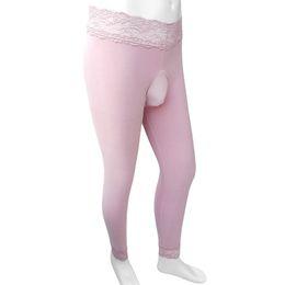 Dessous lange hose online-Sissy Winter-Bottoms Warmhalte Thermal Pants mit Penis-Beutel-Spitze-Taillen-Bottoms Strumpfhosen Männer Wäsche-reizvoller dünner langer Johns