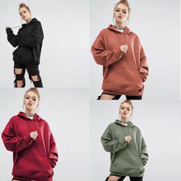 taglie di abbigliamento femminile Sconti Felpe con cappuccio allentate solide di vendita calda delle donne Maglia sportiva incappucciata femminile casuale di colore 4 vestiti di dimensione 8