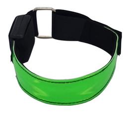 Nastri luminosi online-Fascia da braccio Safty Belt a LED Fascia da braccio regolabile con elastico Righe riflettenti Alta visibilità Night Running Glow Ciclismo da jogging