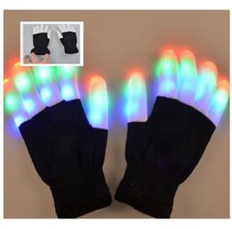 Guantes Rave Mitones Parpadeo del dedo Guante de iluminación LED Colorido 7 Colores Show de luces Blanco y negro desde fabricantes