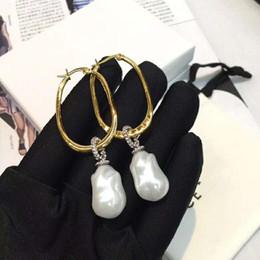 Affascinante Moda Donna Gioielli in oro giallo placcato CZ orecchini di perle naturali cerchi per ragazze donne bel regalo per ragazza amico da