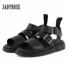 black punk sandals Promo Codes - wholesale Punk Style Women Gladiator Sandals Black Flat Shoes Woman Casual Thick Heel Beach Flats Sandalias Mujer 2019