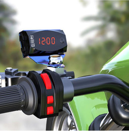 2021 ha portato il termometro orologio dell'automobile Mini Digital voltmetro 12V 3 in 1 display LED Digital Indicatore dell'orologio del termometro Gauge Panel Meter per il motociclo
