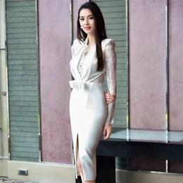 bf326837ada4 ADYCE Summer Women Celebrity Party Dress Vestidos Verano 2018 New Sexy White  Lace Deep V-Neck Long Sleeve Bodycon Dress Clubwear