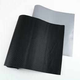 Lámina de fibra online-127X30 cm 3D Negro de fibra de carbono Película de vinilo Fibra de carbono Hoja del abrigo del coche Rollo de herramientas de película Etiqueta calcomanía car styling Envío gratis