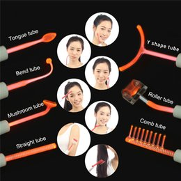 elektrotherapie massager Rabatt Violetter orange Strahlnelektrodenglasrohr-Elektrotherapie Massager-Hochfrequenzelektrodengesichtsstellen-Akneabbau-Antibakterientherapiesatz
