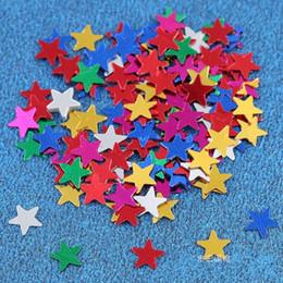 Estrelas da decoração da mesa do casamento on-line-Cinco Estrelas Em Forma de Palha Wastepaper Multi Cores Lantejoulas Tabela Confete Para Festa de Aniversário Decoração de Casamento Suprimentos 1 5 m BB